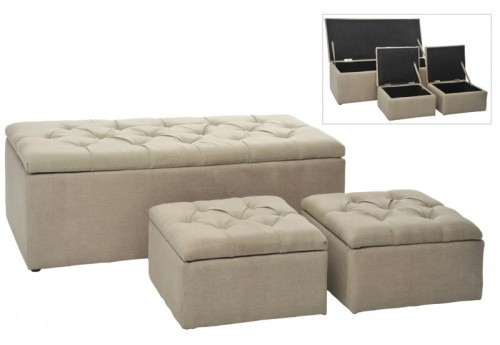 Banc + 2 Poufs Coffre Rectangle/Carre Lin Beige 125X54Cm J-line