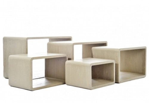 Set 5 Tables Gigogne Rectangle Bois Marron 78X42X50Cm J-line