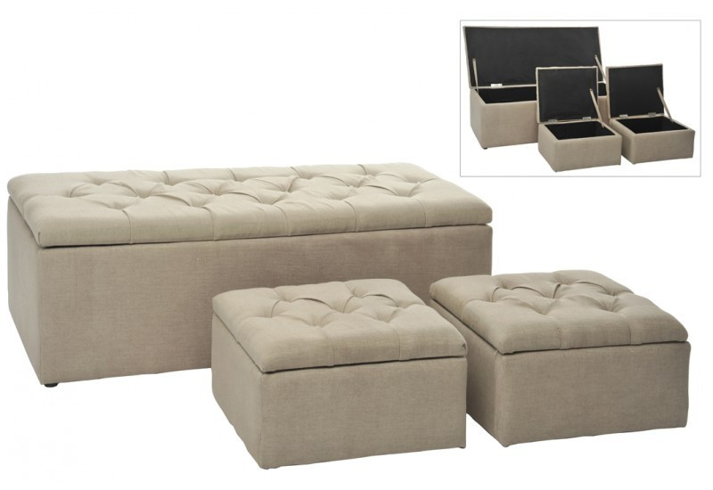 Banc + 2 Poufs Coffre Rectangle/Carre Lin Beige 125X54Cm J-line J-L...