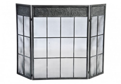 Pare-Feu Grillage Rectangle Fer Noir 63X32X80Cm J-line