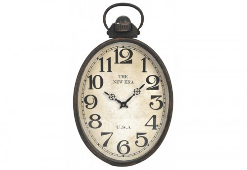 Horloge The New Era Ovale Fer Noir 31X51X5Cm J-line