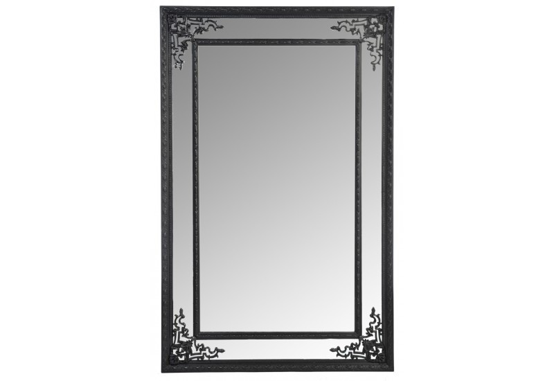 Miroir bord rectangle bois noir 80x125cm j line j line by for Miroir bord noir