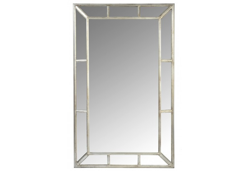 Miroir compartiment rectangle bois argent 80x130cm j line for Miroir 130 x 80