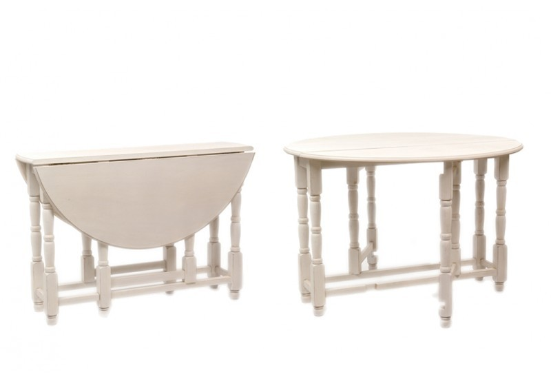Table ronde pliante en bois for Table bois blanc