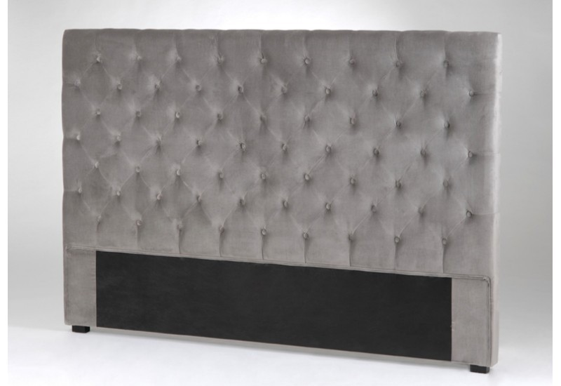 t te de lit velvet 180 gris amadeus amadeus 6705. Black Bedroom Furniture Sets. Home Design Ideas