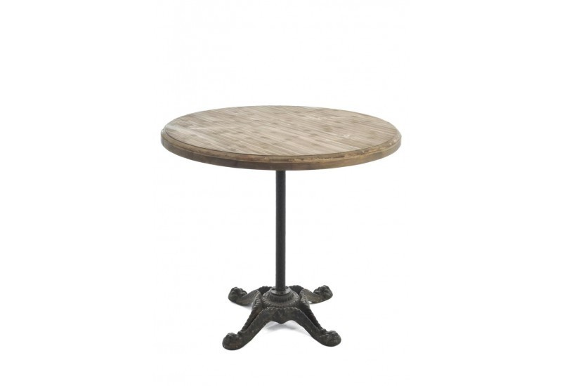 Table ronde bois m tal naturel 86x86x77cm j line j line for Table ronde bois metal