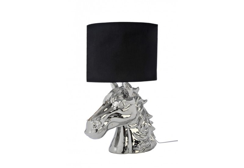 lampe abat jour cheval c ramique argent noir 35x35x61cm j line j. Black Bedroom Furniture Sets. Home Design Ideas