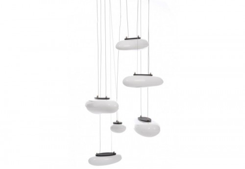 Suspension 6 Lampes Blanches 72X150Cm J-line