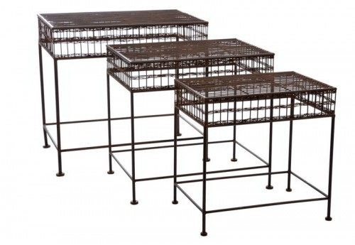 Set De 3 Tables Gigognes Rectangles Grille Fer Marron 59X52X44Cm J-line