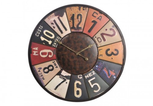 Horloge Plaque Fer Mix Couleurs 78X78X5,5Cm J-line
