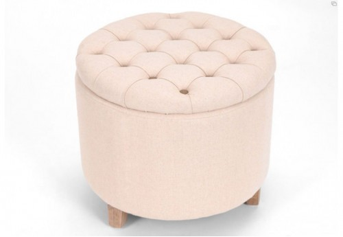 Pouf Coffre Rond Lin/Taupe AMADEUS