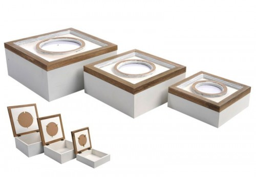 Set 3 Boites Circle Bois Blanc/Naturel 24X24X11Cm J-line