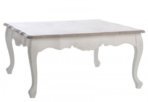 Table de Salon Baroque Carrée Bois Blanchi 90X90X45Cm J-line