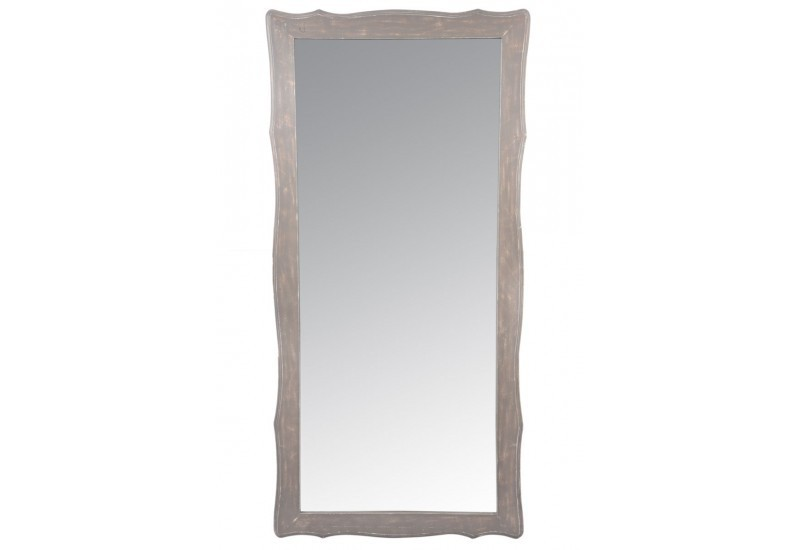 Miroir baroque rectangle bois blanc taupe l 75x154cm j for Miroir bois blanc