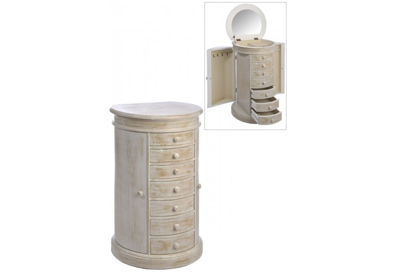 meuble bijoux rond 7 tiroirs 2 portes bois naturel 49x41x80cm j l. Black Bedroom Furniture Sets. Home Design Ideas