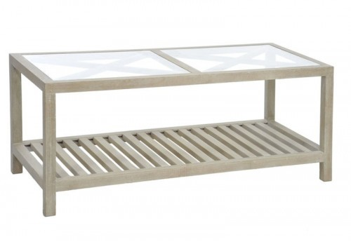 Table Basse Rectangle Croix Bois et Verre Naturel 110X50X45Cm J-line