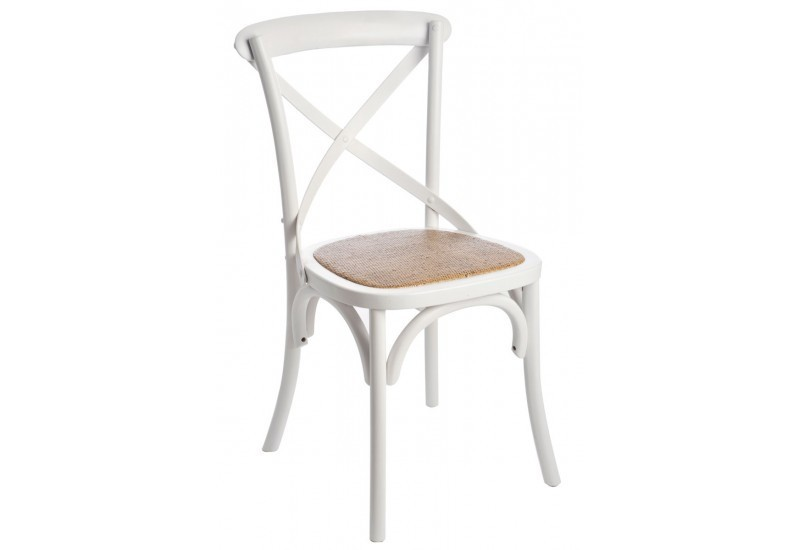 Mobilier table chaise rotin blanc for Chaises blanches bois