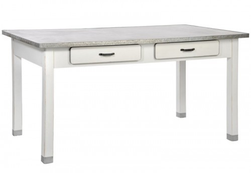 Table Rectangle 2 Tiroirs Bois et Zinc Blanc 160X90X80Cm J-line