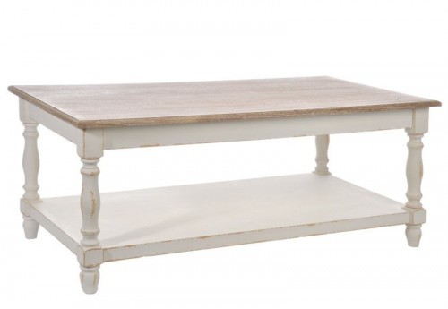 Table Salon Rectangle Bois Blanc/Naturel 120X60X50Cm J-line