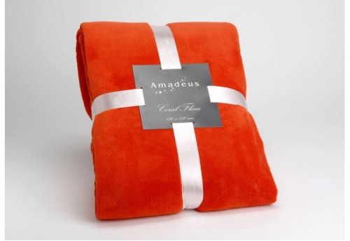 Plaid Doudou Orange Fonce 130X170 AMADEUS