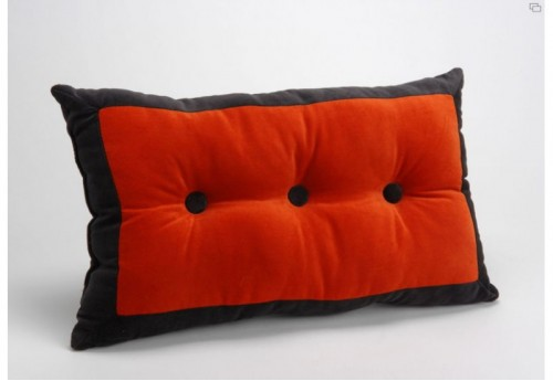 Coussin Velours Bouton 30X50 Orange AMADEUS