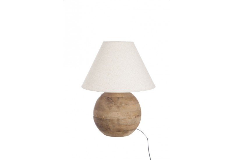 lampe boule en bois naturel 30cm jolipa j line by jolipa 14798. Black Bedroom Furniture Sets. Home Design Ideas