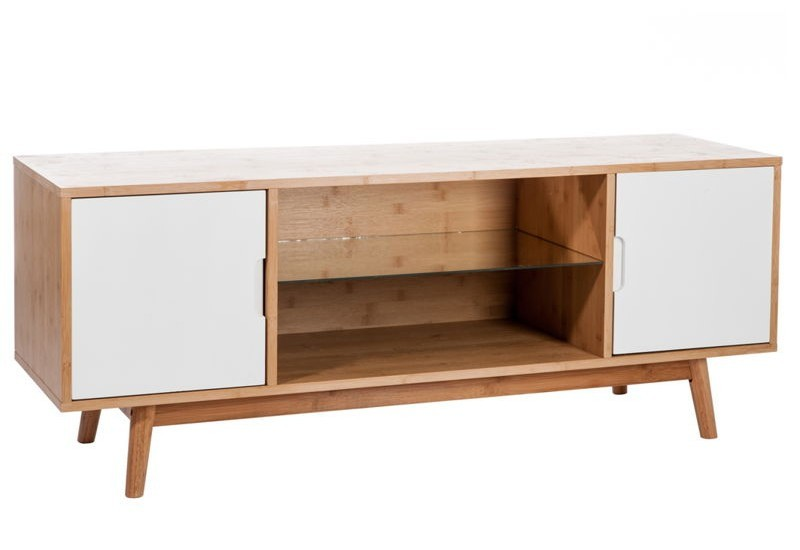 Meuble tv bois naturel blanc 130x38x50cm jolipa j line by for Meuble tv banc bois