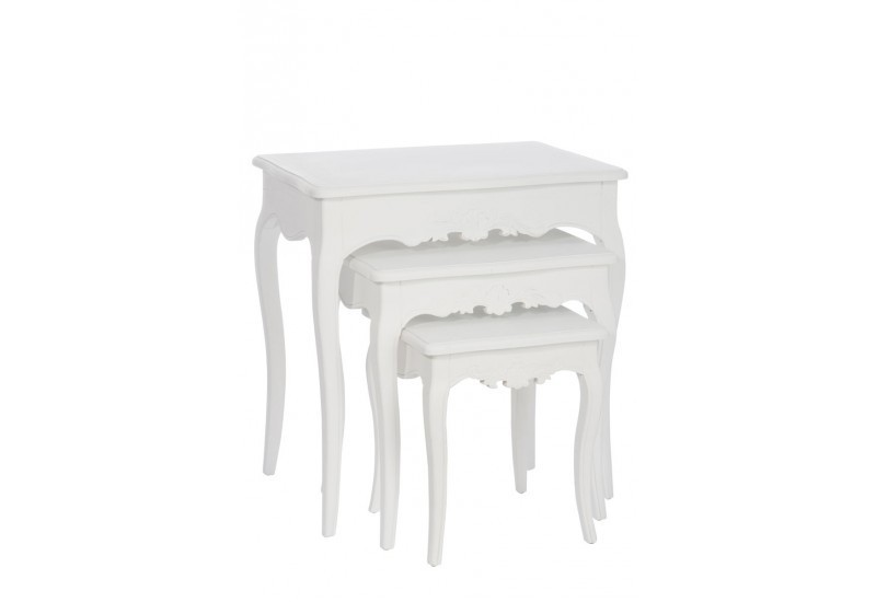 set de 3 tables gigognes louis xv bois blanc 63x43x65cm. Black Bedroom Furniture Sets. Home Design Ideas