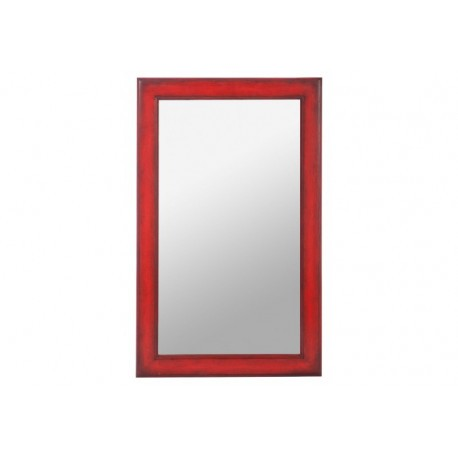 D coration miroir rectangle en bois coloris rouge 23 for Miroir a coller ikea