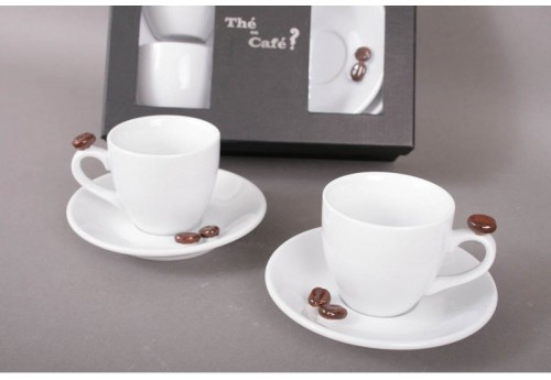 Ensemble 2 Tasses + Sous Tasse Grain De Cafe