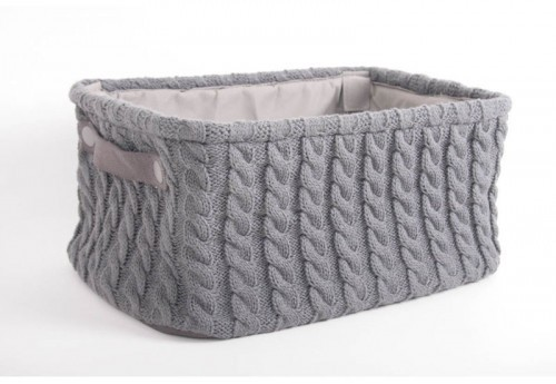 Panière Rectangle Effet Laine Anthracite