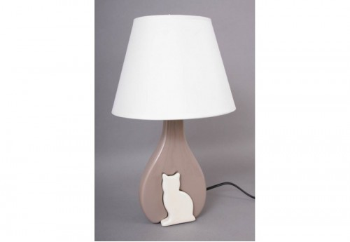 Lampe Chat Silhouette Chocolat/Crème