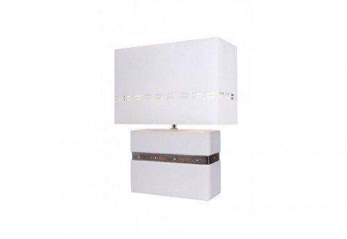 Lampe Pave Blanche Bande Argent
