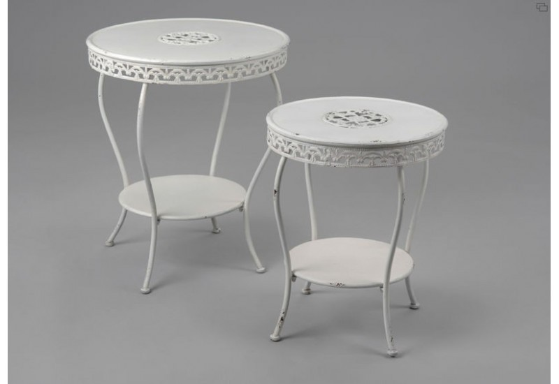 Tables gigognes dentelle m tal blanc us style shabby chic for Table gigogne blanche
