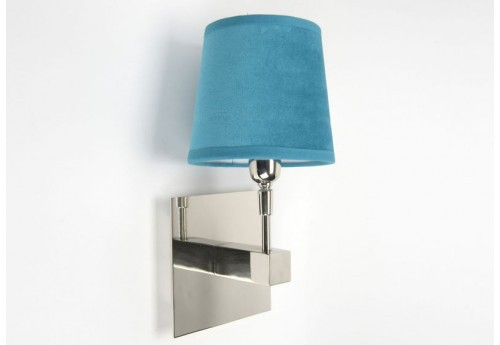 Applique Design Moderne Chrome Houston Et Abat-Jour Turquoise Velours Amadeus