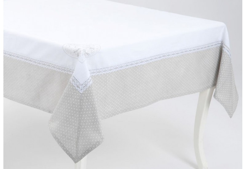 nappe romantique chic 2 tons blanc et taupe mots d 39 amour 150x150 en. Black Bedroom Furniture Sets. Home Design Ideas