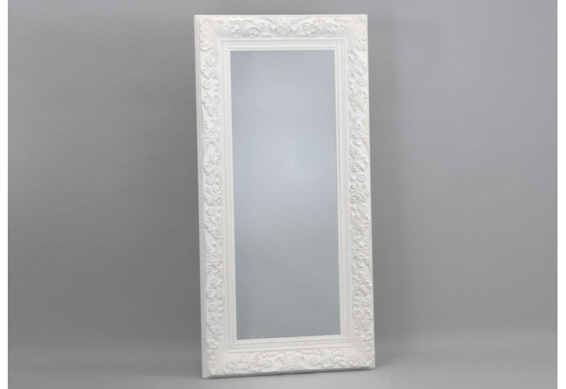 Tr s grand miroir rectangulaire ornement blanc 90x181 cm for Grand cadre miroir