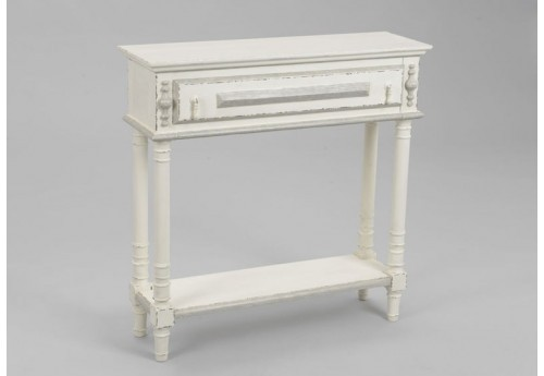 Console patine blanc antique 1 tiroir ornement Amadeus