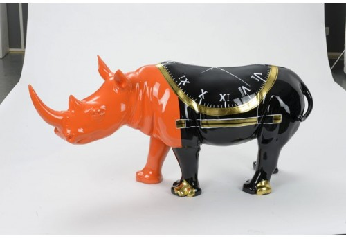 Statue Rhinocéros Orange Et Noir Clock Design L150 Amadeus
