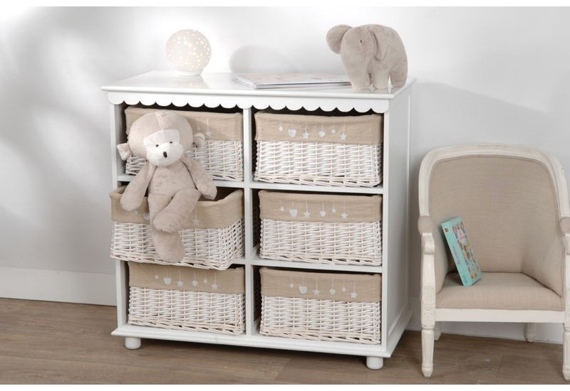 commode enfant 6 tiroirs en rotin blanc amadeus amadeus 16134. Black Bedroom Furniture Sets. Home Design Ideas
