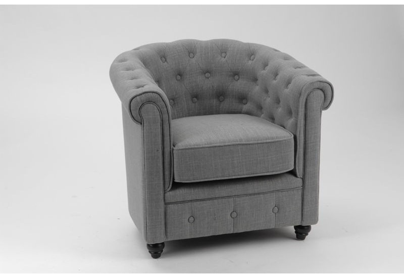 Fauteuil chesterfield tissu coton gris pieds noirs amadeus - Fauteuil chesterfield tissu ...