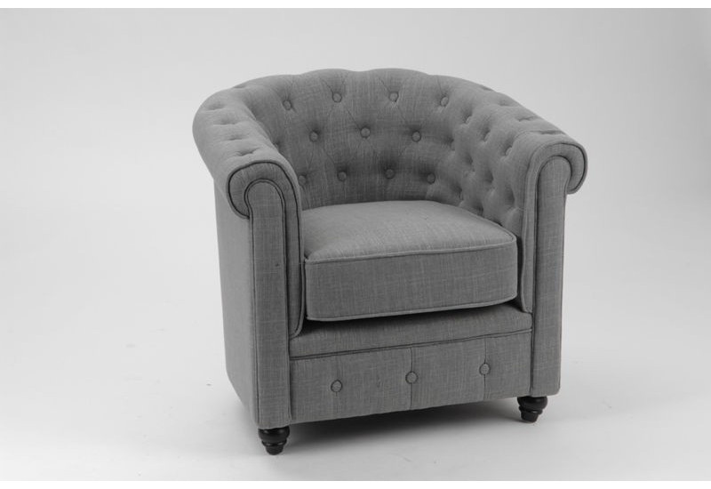 Fauteuil chesterfield tissu coton gris pieds noirs amadeus amadeus - Fauteuil chesterfield tissu ...
