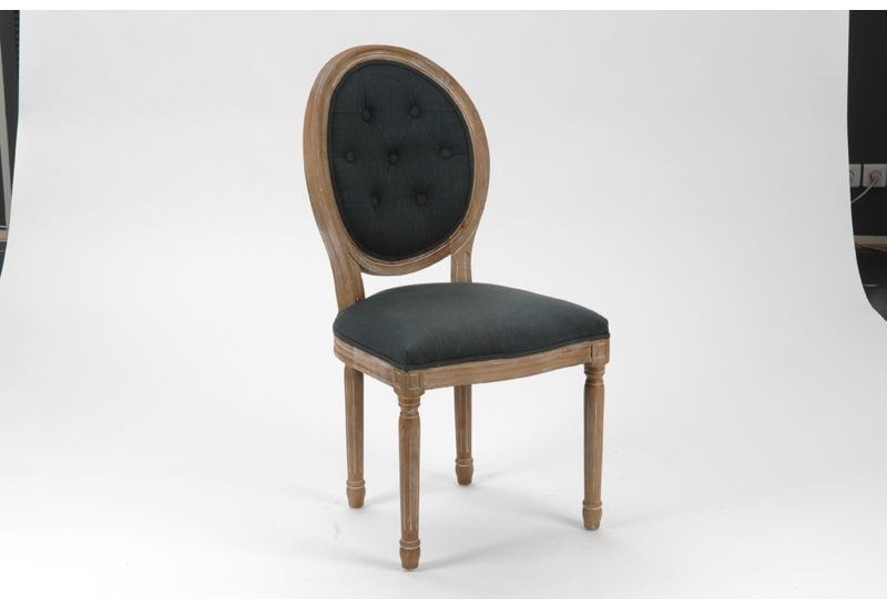 chaise m daillon style louis xvi tissu gris fonce avec structure en. Black Bedroom Furniture Sets. Home Design Ideas