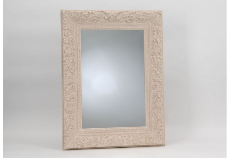 Grand miroir chic rectangulaire ornement cr me 95x125 cm for Grand miroir rectangulaire