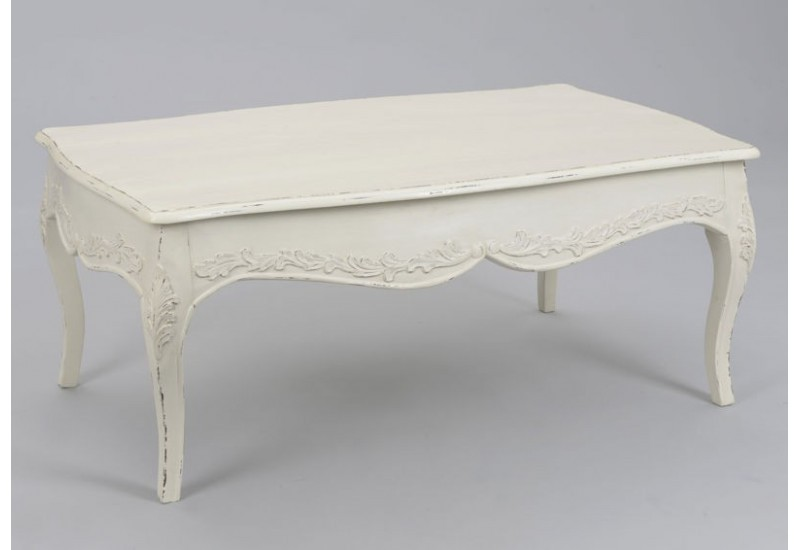 table basse shabby chic patin vieilli blanc antique comtesse amade. Black Bedroom Furniture Sets. Home Design Ideas