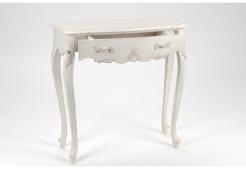 petite console romantique patine vieilli blanc antique 1 tiroir lou. Black Bedroom Furniture Sets. Home Design Ideas