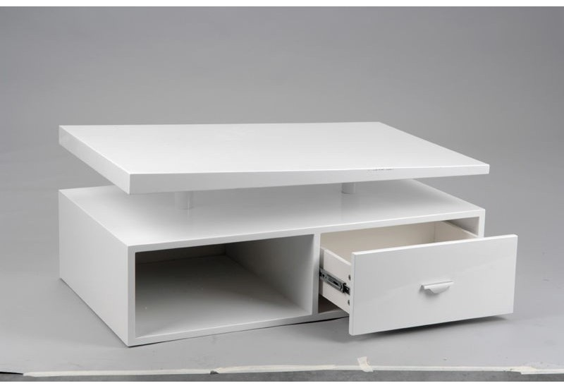 table basse moderne laqu e blanc avec un tiroir amadeus. Black Bedroom Furniture Sets. Home Design Ideas