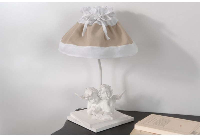 lampe de chevet 2 anges avec abat jour 2 tons blanc et lin romantiq. Black Bedroom Furniture Sets. Home Design Ideas