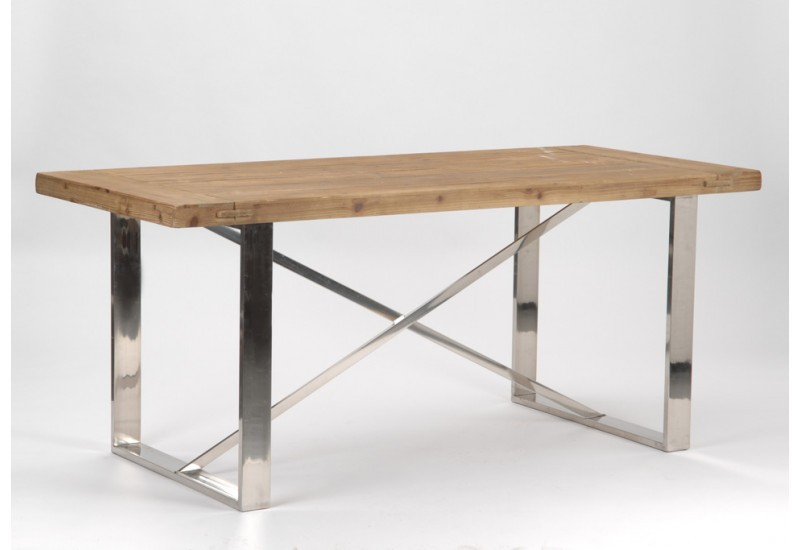 Table manger de style moderne industriel m tal et bois for Table en bois industriel