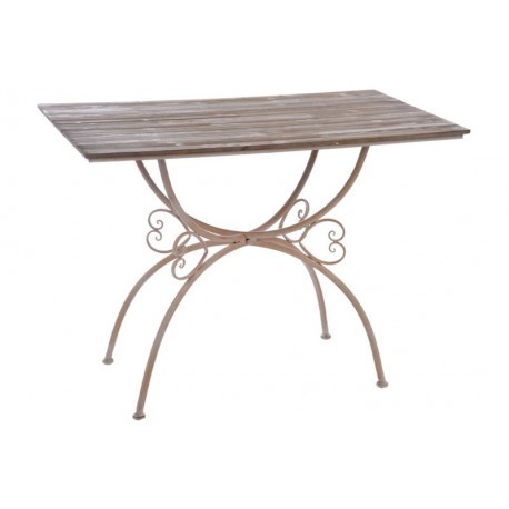 Shopping portail free for Table salle manger fer forge plateau bois